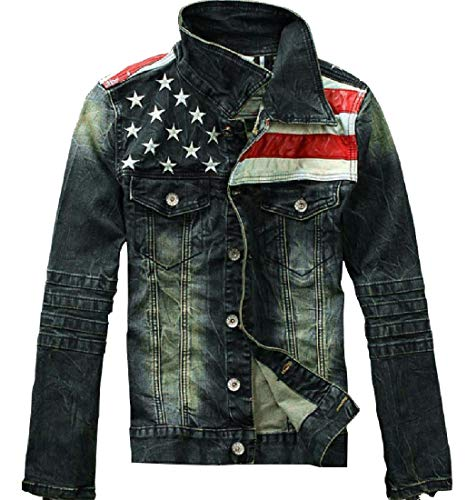 Tootless-Men USA Flag Stand-up Collar Denim Jacket with Pockets XL