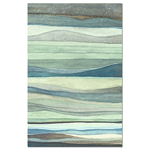 """Tree-Free Greetings EcoNotes Stationary- Blank Note Cards with Envelopes, 4"""" x 6"""", Watercolor Waves, Beach Ocean Themed, Boxed Set of 12 (FS66479)"""