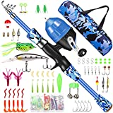 Annleor Kids Fishing Pole - Telescopic Fishing Rod and Reel Combo Kit - Fishing Gear, Fishing Lures, Carry On Bag, Fully Fishing Equipment - for Boys, Girls, Youth (Blue, 4.92)