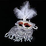 gaiya Halloween Children 's White Half Face Side Feather Maquillaje Dance Princess Lace Mask Pluma Blanca