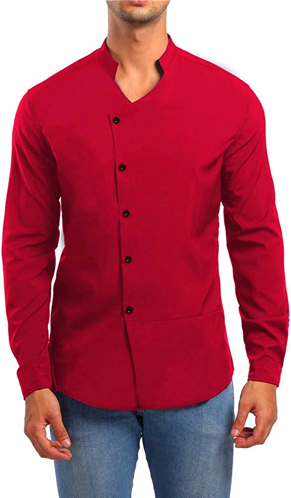 MODOQO Men's Regular-Fit Long-Sleeve Solid Casual Button Down Shirt