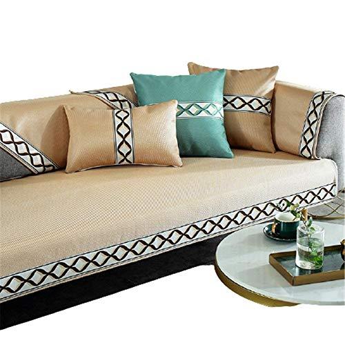 5 Farben Summer Ice SilkSofabezüge Sofa Handtuch,Armlehne Handtuch,Rückenlehne Handtuch,Champagne,90X180cm
