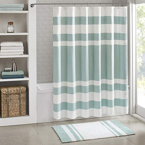 Madison Park Spa Waffle Shower Curtain Pieced Solid Microfiber Fabric with 3M Scotchgard Water Repellent Treatment Modern Home Bathroom Decorations, Standard 72X72, Aqua