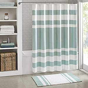 Madison Park Spa Waffle Shower Curtain Pieced Soli...