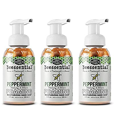 Beessential All Natural Foaming Hand Soap, Peppermint, 8 oz 3 Pack   Made with Moisturizing Aloe & Honey - Made in the USA