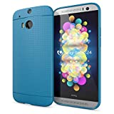 NALIA Handyhülle kompatibel mit HTC One M8 M8S, Ultra-Slim Case Cover, Dünne Punkte Schutzhülle, Etui Handy-Tasche Back-Cover Bumper, TPU Silikon-Hülle Smart-Phone - Mesh Blau