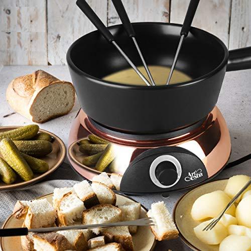 Artestia fondue pot SetElectric Ceramic chocolate Fondue Set with 6 Fondue Forks Temperature ControlServe 6 persons Rose Gold Color Base/Black Ceramic Pot