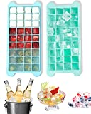 Ice Cube Trays 2 Pack Stackable Silicone Ice Cube Tray Easy Release Trays with Spill-Resistant Removable Lid Ice Trays for Freezer for Food,Cocktail,Whiskey,Chocolate