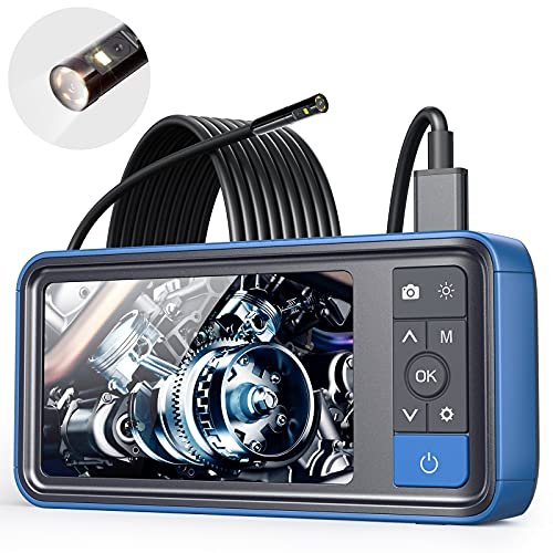 """ScopeAround Endoscope 1080P HD Digital Borescope Camera Waterproof 4.5"""" Inch IPS Screen Snake Video Inspection Camera with 2x Len and 6 LED Lights, Semi-Rigid Cable, 32GB TF Card and Tool Bag (16.5FT)"""