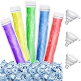 450 Pieces Disposable Ice Mold Bags 8.7 x 2.4 Inch Popsicle Mold Bags Homemade Ice Pop Bags with 3 Funnels Freeze Snacks Freezer Tubes for Healthy Snacks Juice Fruit Smoothies Yogurt Ice Cream