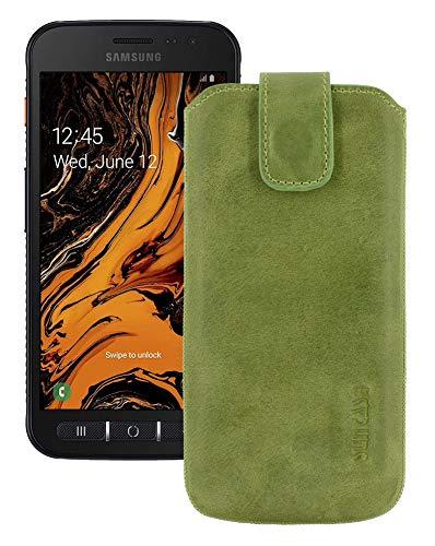Suncase Etui Tasche kompatibel mit Samsung Galaxy Xcover 4s mit ZUSÄTZLICHER Hülle/Schale/Bumper/Silikon *Lasche mit Rückzugfunktion* Handytasche Ledertasche Schutzhülle Hülle in antik-Kiwi grün
