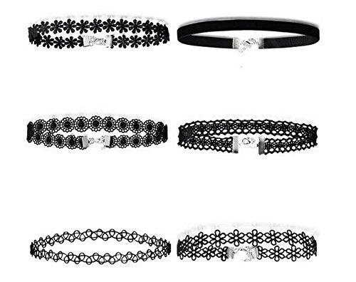 Youkara, Choker-Halsketten-Set für Teenager/Mädchen, Leder, Halskette, Schwarz, klassische Länge, verstellbar, 6 Stück