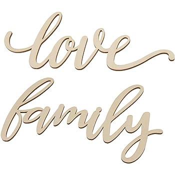 B Blesiya 2 pcs Letreros de Madera de Pared Minimalistas Letras Love y Family Adornos de Cafetería Pub Hotel: Amazon.es: Hogar