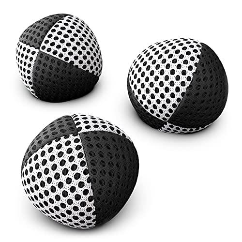 お手玉ジャグリングボール初心者&プロ向けSpeevers Xballs – 3個入りジャグリングビーンバッグセット – 子供と大人向けジャグリングボール – 14色 - キャリーケース付ウォッシャブルジャグリングセット (黒白, 120グラム)
