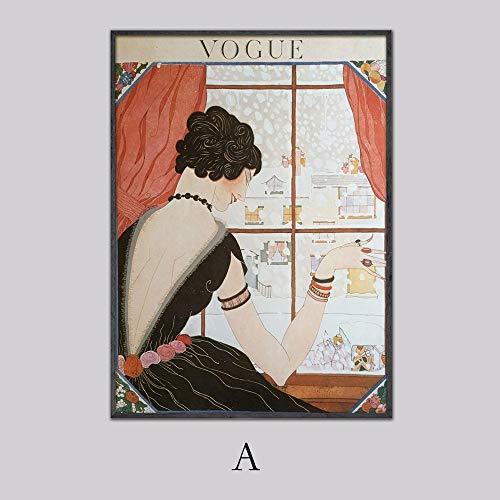 Vintage Cuadros Vogue figuur citaat affiches en afdrukken canvas wand Pop Art zwart-wit schilderij Nordic decoratieve afbeelding 40x60cm