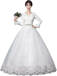 Bride Fashion Long Sleeve Wedding Dress Prom Gown Formal Party Tulle Embroidered Skirt beautiful