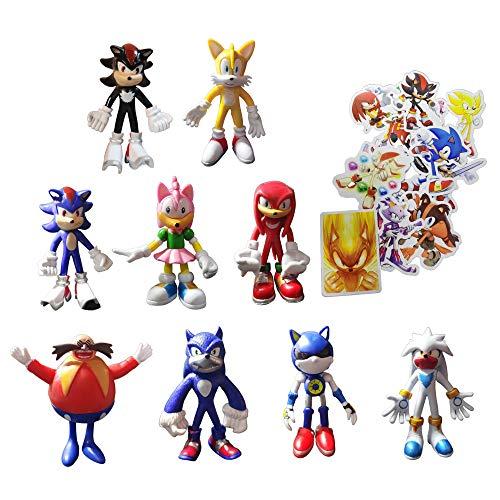 Figura de Sonic Juguetes 9 unids/set Enviar 100 Sonic Pegatinas El erizo Moderno Sonic Acción Figura Accesorio