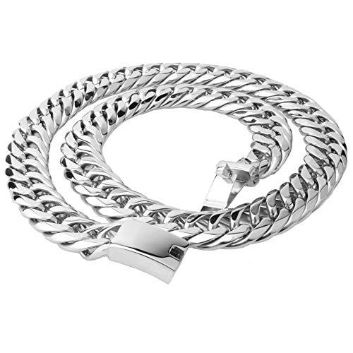 DUPFY 20mm Mens Curb Cuban Chain Halskette, 50-70cm, 316L Edelstahl- (mit Geschenkbox, Beutel) 70CM