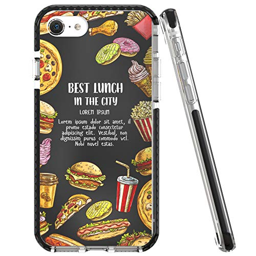 Rose Lake Case for iPhone SE 2020 iPhone 8 iPhone 7 Cover, Men Women Girls Boys Protective Back TPU Silicone Shockproof Bumper Cover 4.7-inch Anti-Scratch (Food Series- Tasty Donuts/Black)
