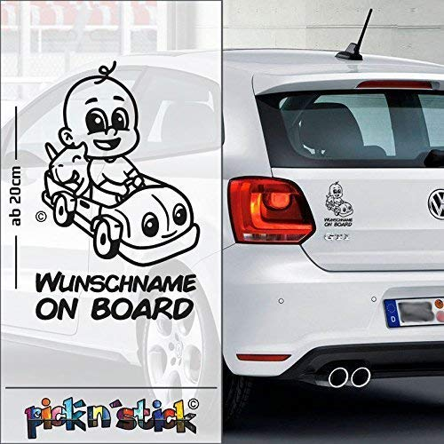 Car - Auto - Baby on Board im Auto | individuell mit Name | Wunschtext | Auto Aufkleber | Lustig | Funny | © picknstick