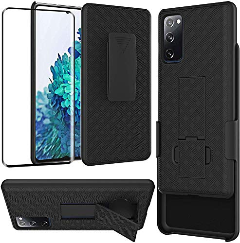 JACKPOT WIRELESS for Samsung Galaxy S20 FE 5G Case, Drop Protection Full Body Rugged Holster Slim Shell Belt Clip Heavy Duty Case with Screen Protector, Shockproof Protection Durable Cover (Black)