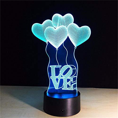 Luz nocturna 3D 3D LED Luz de noche Amor Globo Figura de Acción Táctil Ilusión Óptica Lámpara de Mesa Decoración del Hogar Modelo ZGLQ