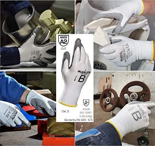 MAPA Professional KRYTECH 579 – Polyurethan-Handschuhe mit leichter Schnittfestigkeit für die Bereiche Automobilindustrie, Maschinenbau und Papierindustrie, weiß, Größe 10, (1 Paar), Schutzhandschuhe