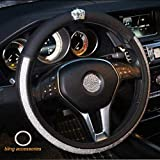 Alvaza Crystal Car Steering Wheel Cover Bling Bling Rhinestones Leather Crown Decro Not Slip Breathable Steering Covers Size 15 Inch + Free Bling Ring