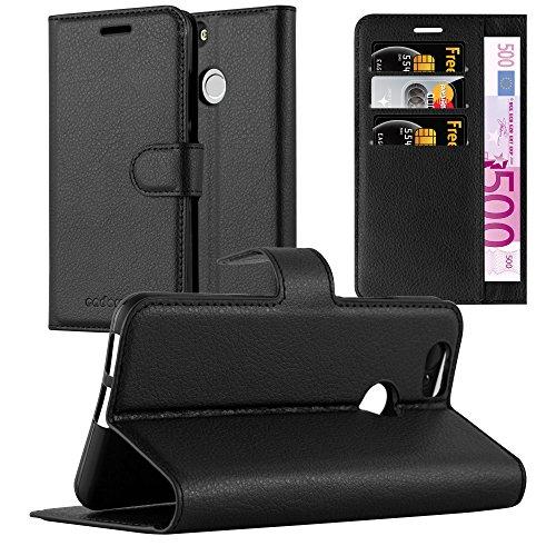 Cadorabo Hülle für Huawei NOVA in Phantom SCHWARZ - Handyhülle mit Magnetverschluss, Standfunktion & Kartenfach - Hülle Cover Schutzhülle Etui Tasche Book Klapp Style