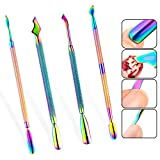 WOKOTO 4Pcs Nail Cuticle Pusher Stainless Steel Set Cuticle Trimmer Remover For Manicure Pedicure Polish Remover Tools