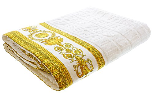 Gianni Versace Large Towel Throw Unisex Beach 150x200 Asciugamano Copriletto Bianco