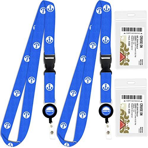 Cruise Lanyard & Key Card Holder [2-Pack] Retractable Reel & Detachable Waterproof ID Holder (Blue Anchor Design)