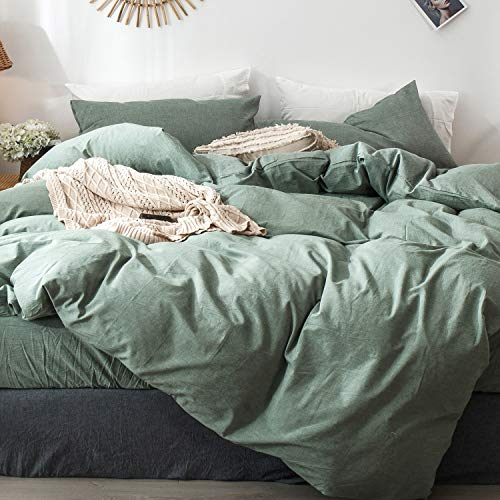 MooMee Solid Bedding Duvet Cover Set (1 Comforter Cover + 2 Pillow Shams) 100% Washed Cotton Linen Like Textured Breathable Durable Soft Comfy (Green, King)