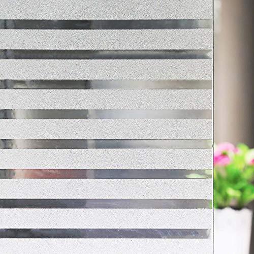 Zindoo Fensterfolie Sichtschutz Sichtschutzfolie Streifen Milchglasfolie Fenster Aufkleber Glas Statische Folie für Büro und Zuhause 44.5 * 200 cm