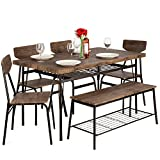 Best Choice Products 6-Piece 55in Wooden Modern Dining Set for Home, Kitchen,...