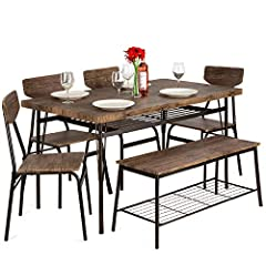 6-PERSON FAMILY DINING: Stylish, functional set includes a table, 4 chairs, and a 2-person bench, perfect for family meals or gatherings in your kitchen or dining area BUILT-IN STORAGE RACKS: Metal racks under the tabletop and the bench can convenien...
