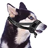 SlowTon Nylon Dog Muzzle, Dog Mouth Cover Adjustable Soft Padding Quick Fit Comfortable Muzzles for Small Medium Large Dog Outdoor Anti Biting Behavior Training Stop Chewing Barking Attach to Collar (Large)