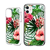 Shark Compatible Summer Aloha Tropical Floral Coconut Tree Bahama Leaves Ultra Slim Rubber Silicone TPU Cover for iPhone 11