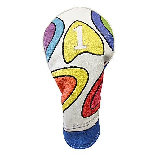 Majek Retro-Golfschlägerhaube, limitierte Auflage, Vintage-Stil, Leder-Stil, psychedelisch, bunt, Groovy, Custom Design, 1 Driver Headcover passend für 460cc Driver