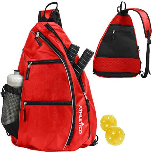 Athletico Sling Bag - Mochila bandolera para Pickleball, tenis, raquetbol y viajes para hombres y mujeres (rojo)