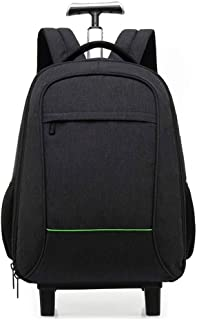 Yyqtsb Rolling Backpack, Waterproof College Wheeled Laptop Backpack for Travel, Trolley Luggage Suitcase Compact Business Bag School Student Computer Bag for Men fit Notebook