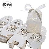 SenPuSi 50 Stück Gastgeschenk Hochzeit Süßigkeiten Schachtel Geschenkbox Kasten Hochzeit Party Dekoration (Beige)
