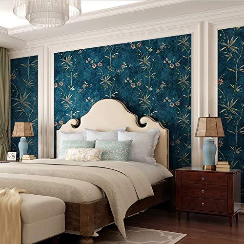 Schlafzimmer Tapete Blau Retro Wohnzimmer Restaurant Korridor Stereoskopische Muster Heißprägen Blatt Blumen Vlies Abric Mode Amerikanischen Ländlichen Stil,Peacockblue