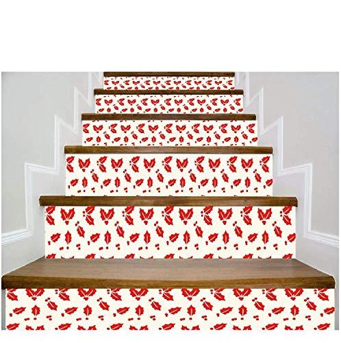 Adhesivo De Escalera Decoración De La Pared De La Etiqueta Engomada De La Escalera Del Modelo De La Niebla Del Arce De Holly (100 * 18cm)*13pcs: Amazon.es: Bricolaje y herramientas