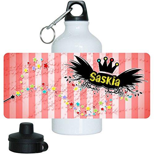 Eurofoto Trinkflasche mit Namen Saskia und schönem Zauber-Motiv für Mädchen, aus Aluminium