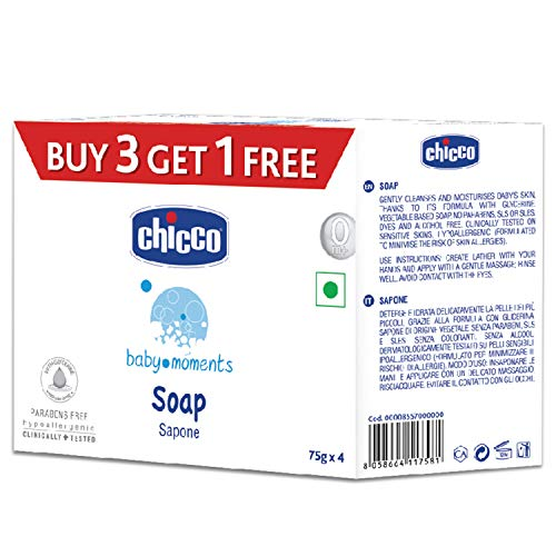 Chicco Baby Moments Soap, Moisturising and Nourishing, 0m+, Dermatologically tested, Paraben free (Pack of 4, 75 g per pack)