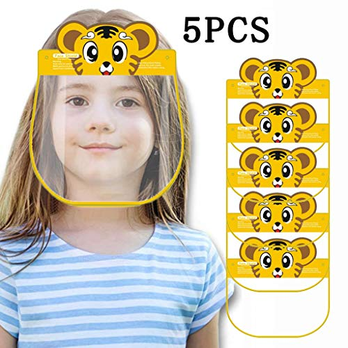 5 Pcs Childrens Clear Plastic Face Shields in Fun Colors & Animals $4.58 (80% OFF)