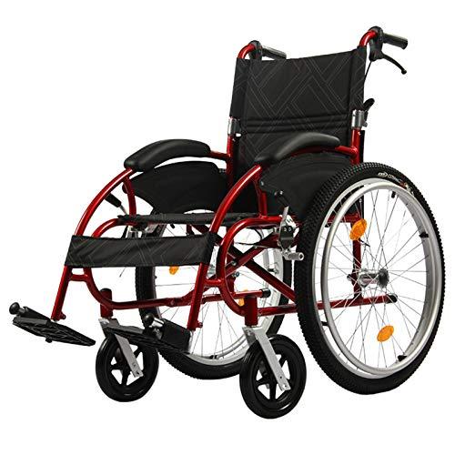 YH-LY Ultraleichter Faltbarer Rollstuhl, Rollstuhlrampe 2,00 mm Gebogene Halterung, Verbreiterung der Offroad-Reifen, leichte Faltrollstühle