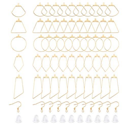 UNICRAFTALE 90 Uds 4 Tipos de Pendientes de Aro Huecos Hipoalergénicos Dorados de Acero Inoxidable con Colgantes de Alambre Y Tuercas de Plástico