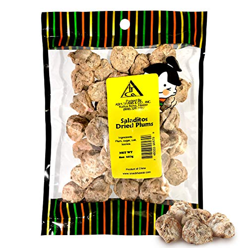 Asia Trans & Co. Dried Salted Red Plums - Authentic Li Hing Mui Chinese Sour Candy - Saladitos Con Sal (Preserved Dry Plum Mexican Candy Sweets) - Asian Dried Fruit Snacks Made with Premium Produce